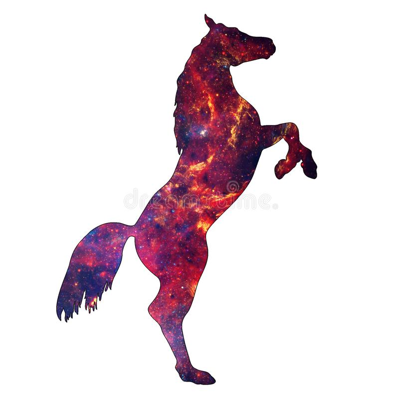 Space Animal Flaming Horse. Illustration of space animal Horse. Space animals are cute and mystical creatures who travel in the sky among the stars in royalty free illustration