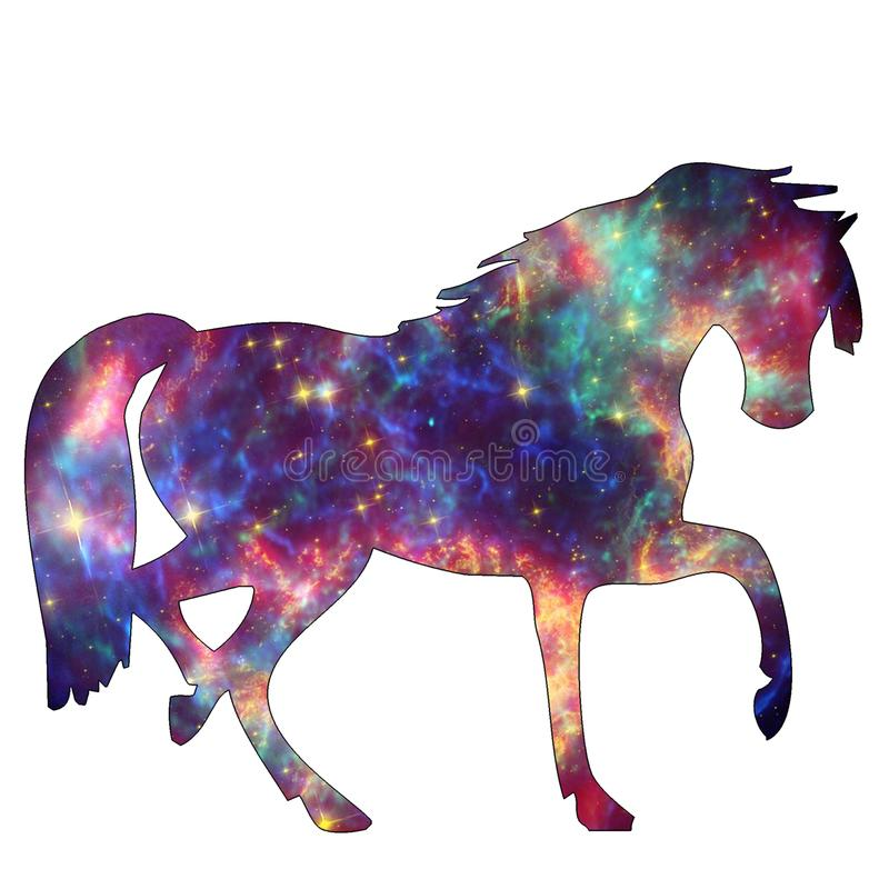 Space Animal Galaxy Horse. Illustration of space animal Horse. Space animals are cute and mystical creatures who travel in the sky among the stars in everlasting stock illustration