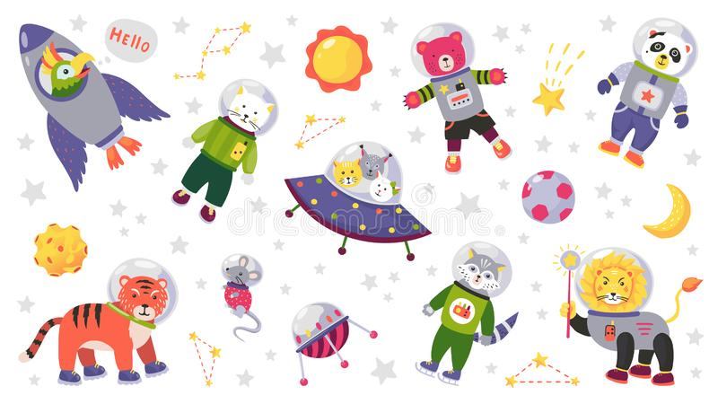 Space animal kids. Cartoon baby characters in space costumes with rocket planet and stars. Vector baby animals isolated. Space animal kids. Cartoon baby royalty free illustration