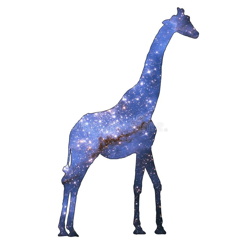 Space Animal Stars Giraffe. Illustration of space animal Giraffe. Space animals are cute and mystical creatures who travel in the sky among the stars in royalty free illustration