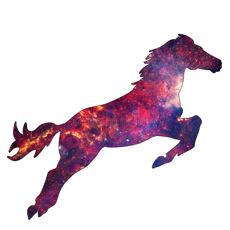 Space Animal Stellar Horse. Illustration of space animal Horse. Space animals are cute and mystical creatures who travel in the sky among the stars in vector illustration