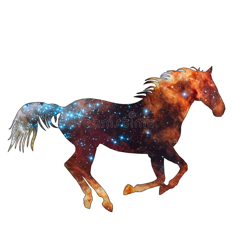 Space Animal Universe Horse. Illustration of space animal Horse. Space animals are cute and mystical creatures who travel in the sky among the stars in vector illustration