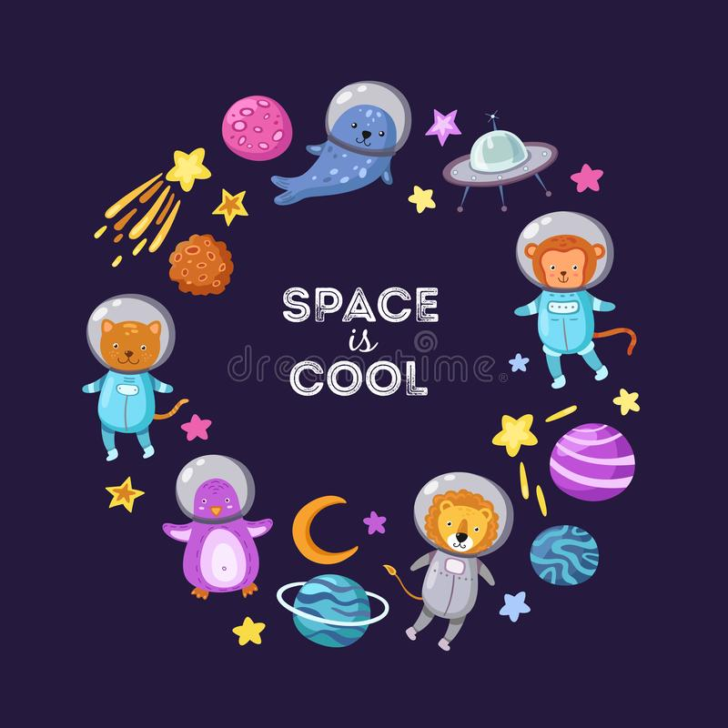 Space animals background. Cute baby animal astronauts flying kid pets cosmonauts cartoon funny spaceman science vector. Poster. Astronaut and spaceship, penguin stock illustration