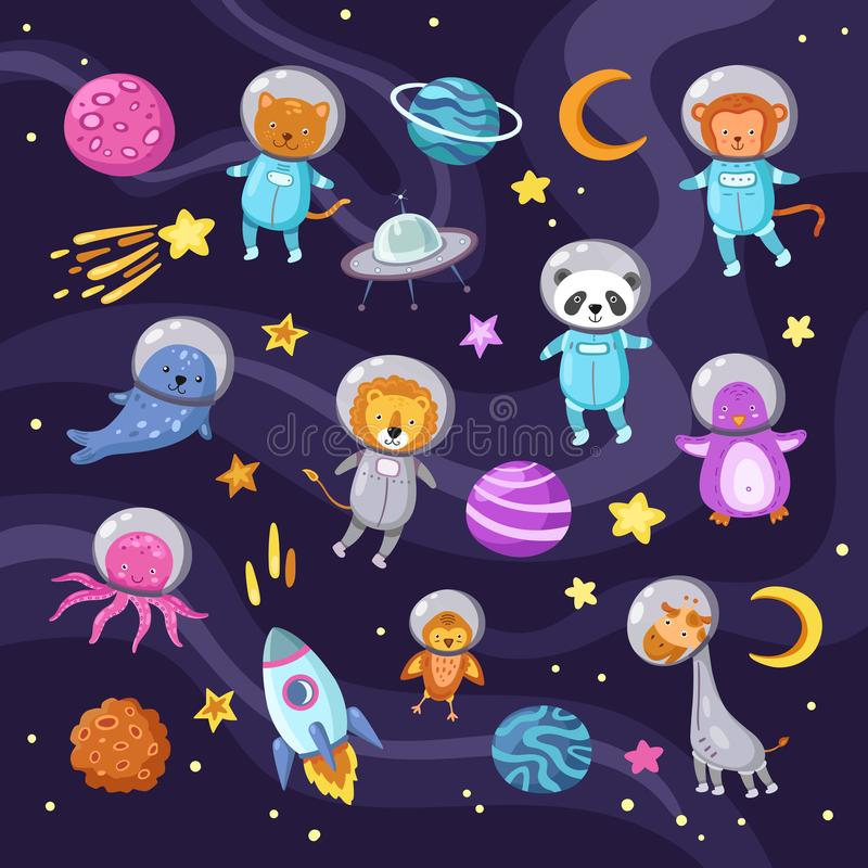 Space animals. Cute baby animal panda cat lion giraffe monkey octopus penguin astronauts flying kid pets cartoon science royalty free illustration