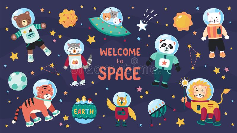 Space animals. Cute cartoon trendy baby animal characters in space suits, set of science kids in cosmos. Vector flat. Doodle collection on star sky background stock illustration