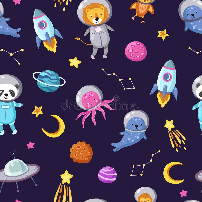 Space animals pattern. Cute baby animal astronauts flying kid pets cosmonauts funny spaceman boy seamless cosmos vector. Wallpaper. Illustration of astronaut vector illustration