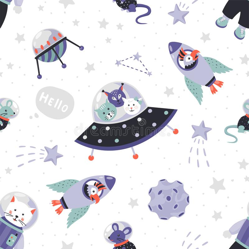 Space animals pattern. Cute cartoon baby astronauts seamless print, doodle animals in cosmos with stars and planets. Vector illustration wallpaper with cat and vector illustration