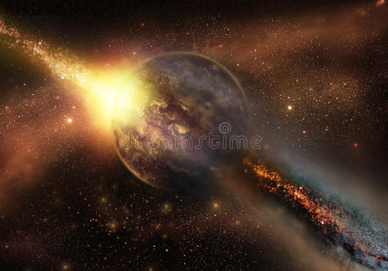 Space armageddon. When asteroid hit the planet stock photo
