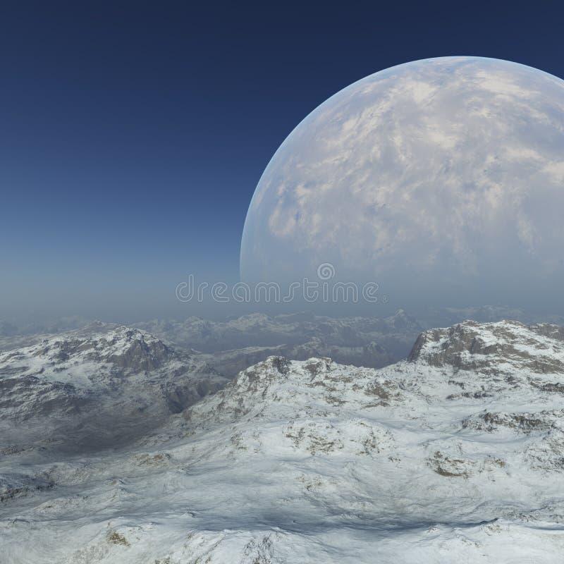 Space Art: Foggy Alien Planet frozen world. 3D Rendering vector illustration