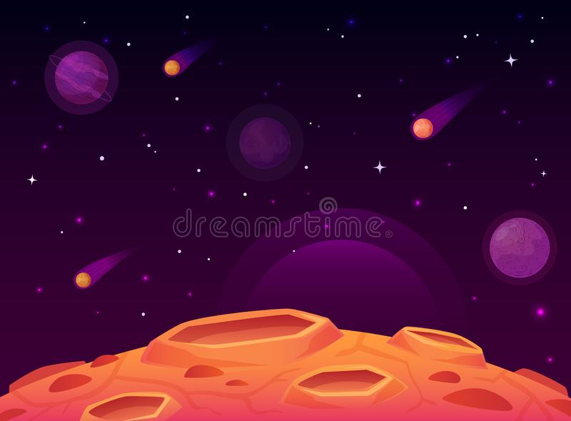 Space asteroid surface. Planet with craters surface, space planets landscape and comet crater cartoon vector. Space asteroid surface. Planet with craters surface stock illustration