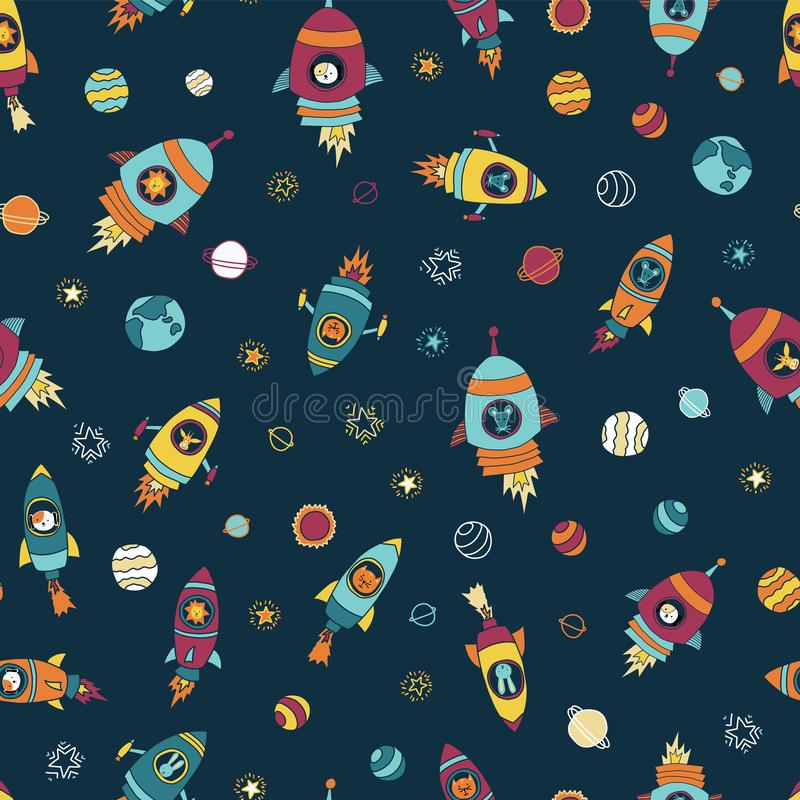 Space astronaut animals on blue seamless vector background. Rocket ships with planets and stars. Animal astronauts mouse, cat, royalty free illustration