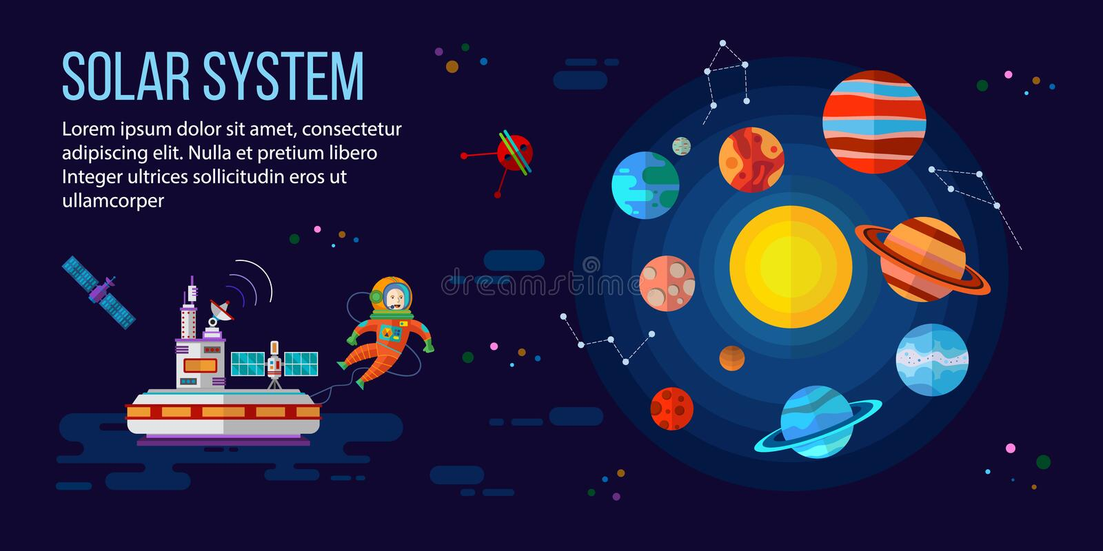 Space, astronaut, planets and space station stock illustration