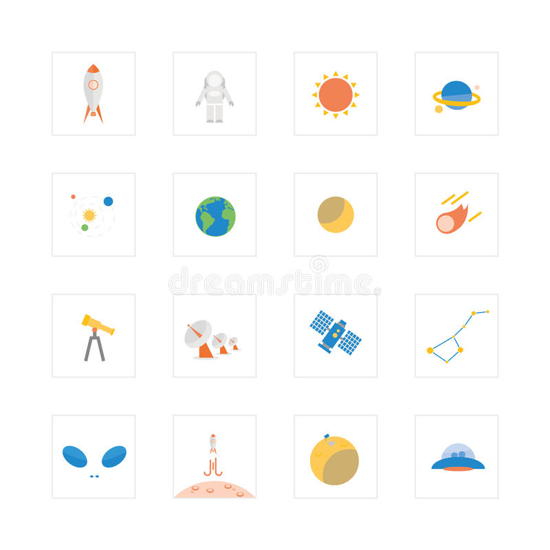 Space and astronomy icons. Designed for illustration, infographics, web icon, report, presentation, template and more in your business royalty free illustration