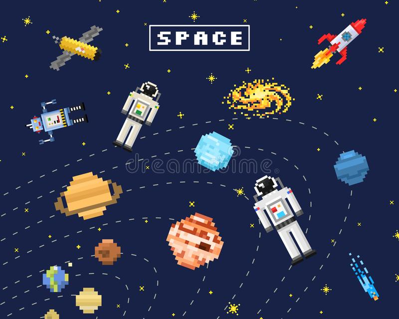 Space background, alien spaceman, robot rocket and satellite cubes solar system planets pixel art, digital vintage game stock illustration