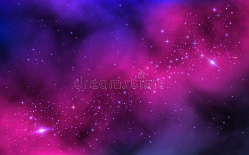 Space background. Bright milky way with nebula and stars. Color galaxy with stardust. Abstract futuristic backdrop royalty free illustration