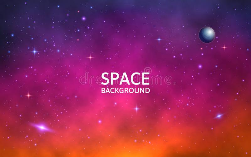 Space background. Colorful galaxy with nebula, planet and stars. Abstract futuristic backdrop. Stardust and shining vector illustration