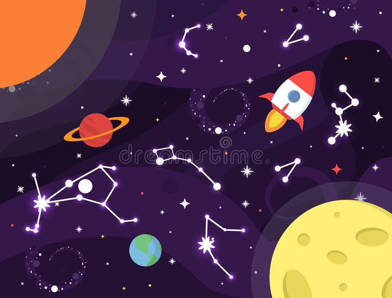 Space background. Colorful galaxy with nebula, planets, stars, milky way, constellation, Earth, rocket, Moon, Sun, black vector illustration