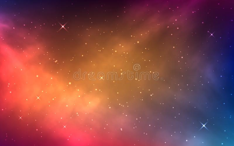 Space background with colorful nebula. Bright cosmos with milky way. Shining stars and color galaxy. Abstract stardust vector illustration
