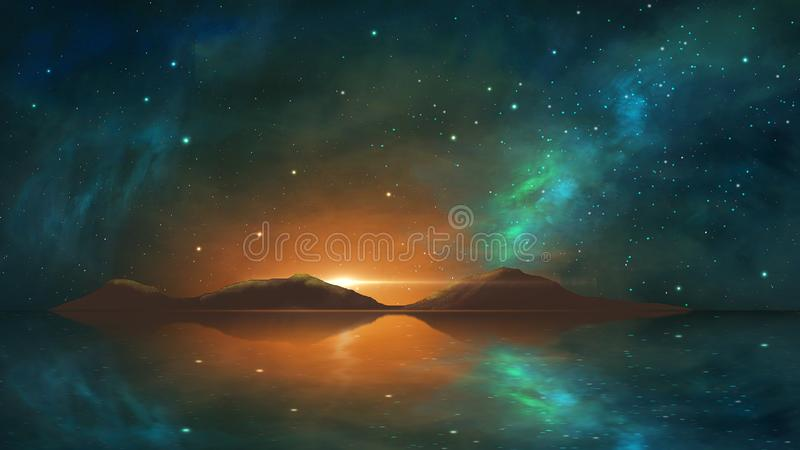Space background. Colorful nebula with mountain, milky way reflection in water. Elements furnished by NASA. 3D rendering vector illustration