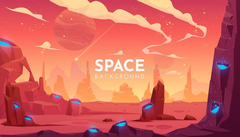 Space background, empty alien fantasy landscape. Space background, alien fantasy landscape with rocks and craters with blue liquid inside, orange planet empty stock illustration