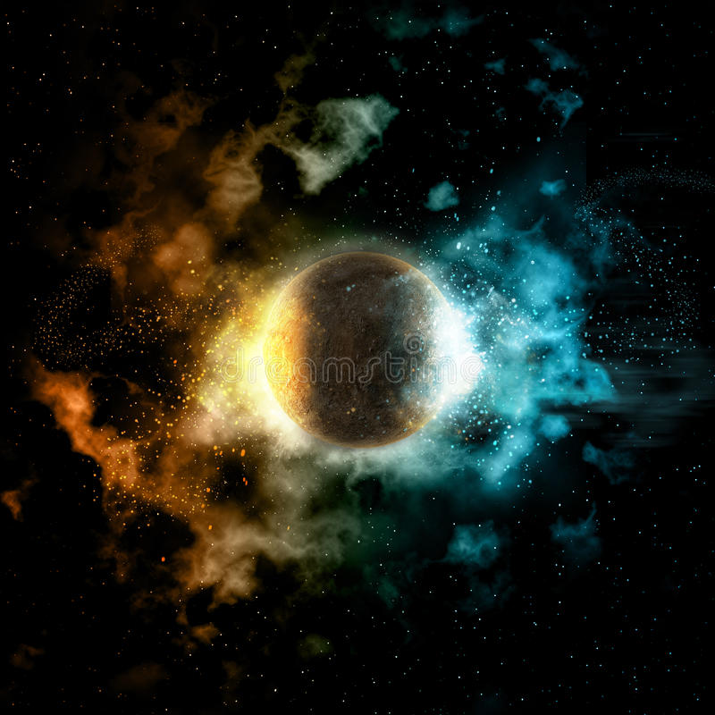 Space background with fire and ice planet stock illustration
