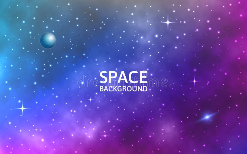 Space background. Galaxy with nebula, planet and stars. Colorful abstract futuristic backdrop. Stardust and shining royalty free illustration