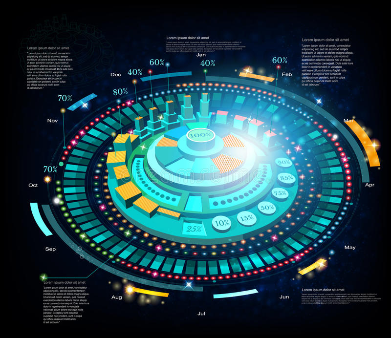 Space background or hightech futuristic interface infographic. HUD and GUI stock illustration