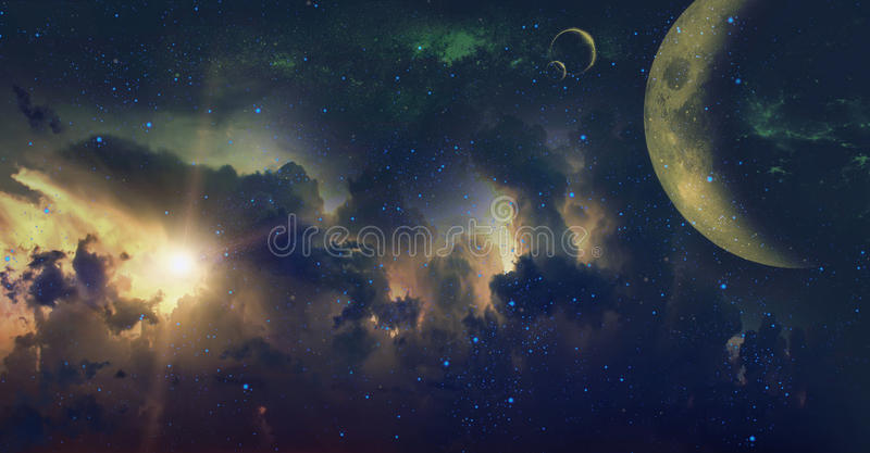 Space background. An illustration of a star, planets and a nebula royalty free stock photos