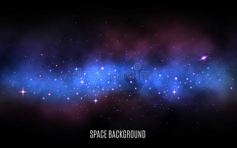 Space background. Milky way with colorful stars. Blue nebula and stardust. Galaxy background with shining stars. Trendy royalty free illustration