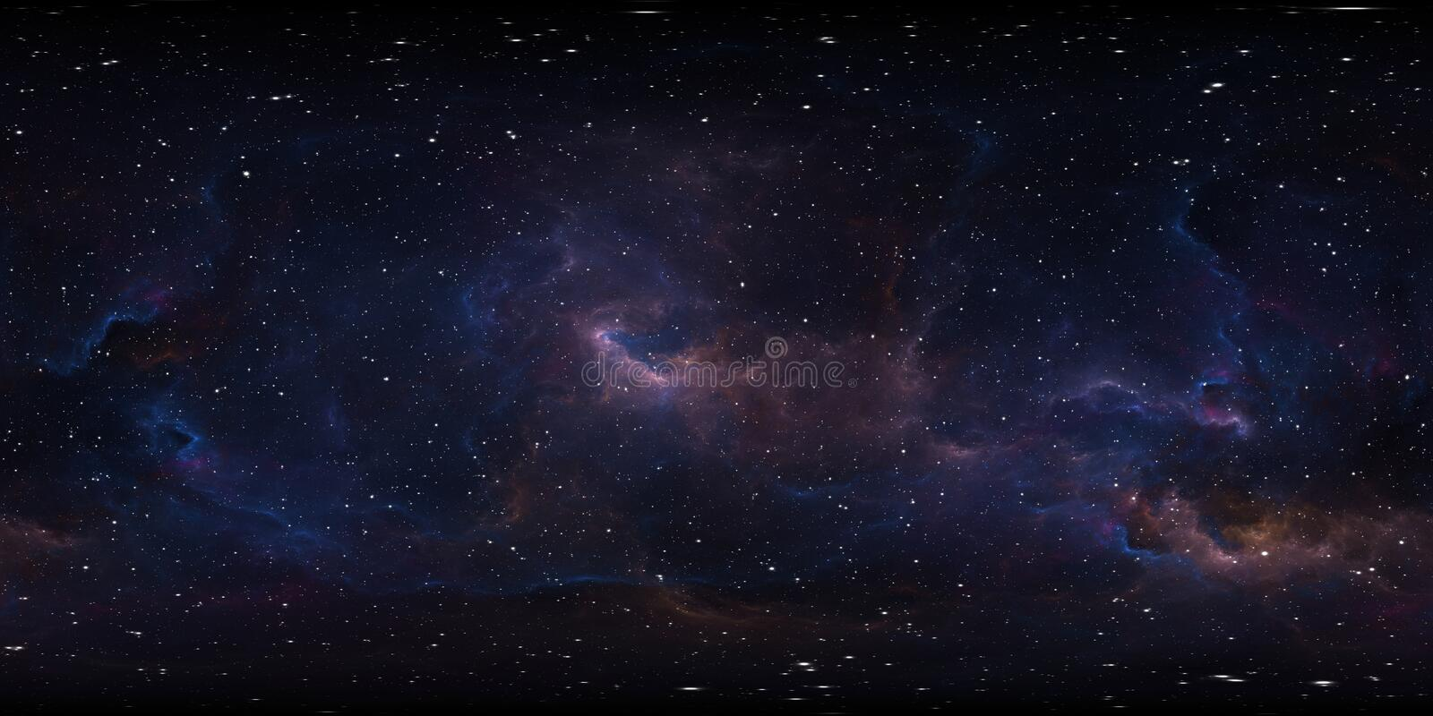 Space background with nebula and stars. Environment 360 HDRI map. Equirectangular projection, spherical panorama stock illustration