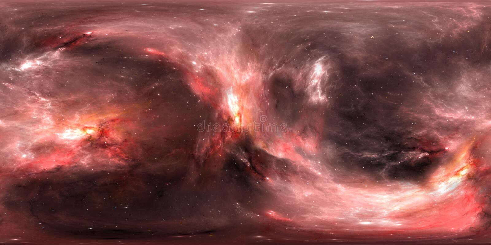 Space background with nebula and stars. Panorama, environment 360 HDRI map. Equirectangular projection, spherical panorama. stock illustration