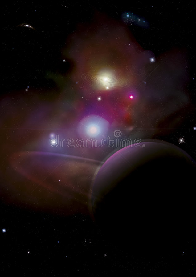 Space Background with Planet. Space Background with large planet in forground, mulitiple galaxies and stars. Made in photoshop royalty free illustration