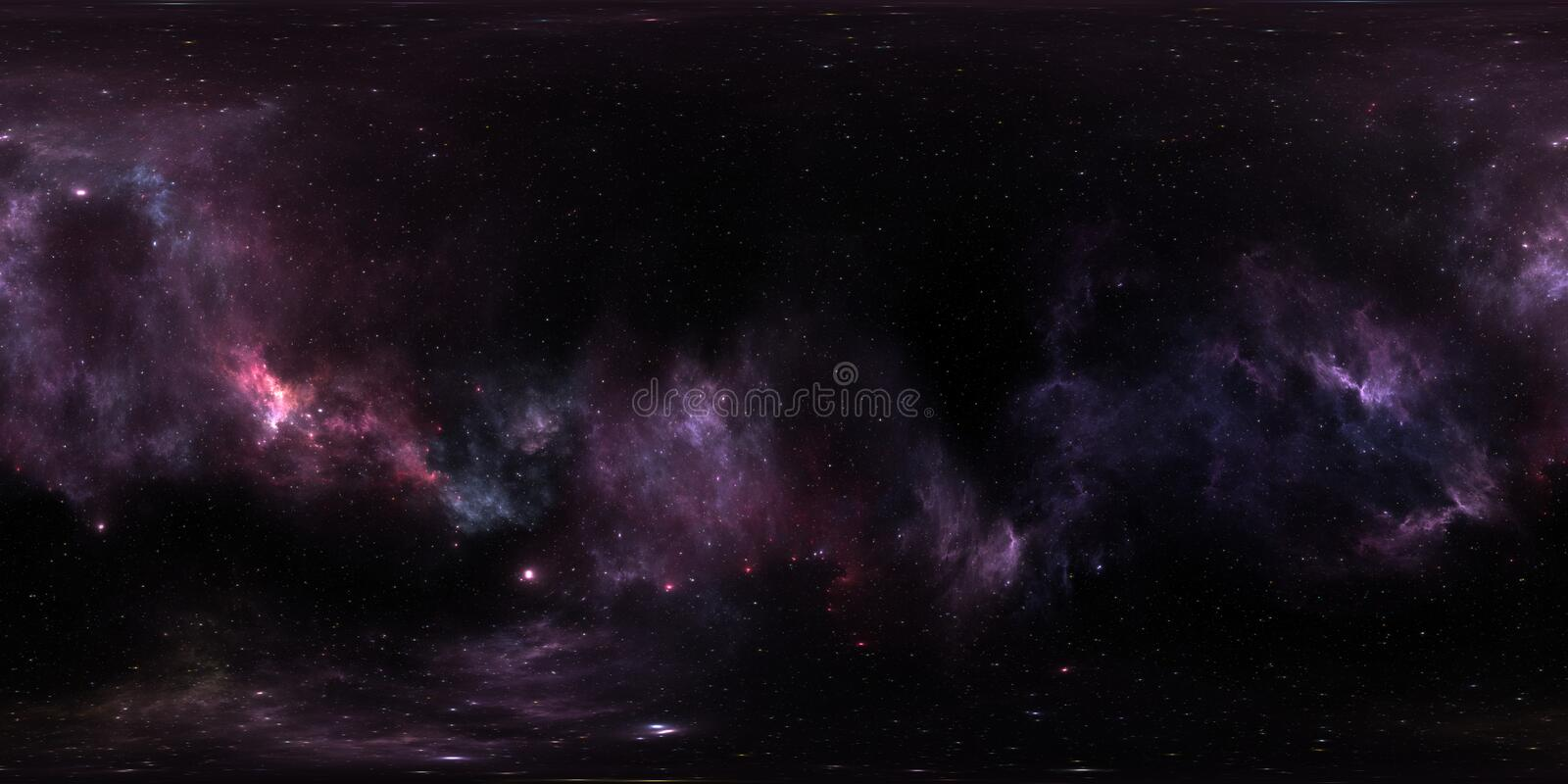 Space background with purple nebula and stars. Panorama, environment 360 HDRI map. Equirectangular projection, spherical panorama royalty free illustration