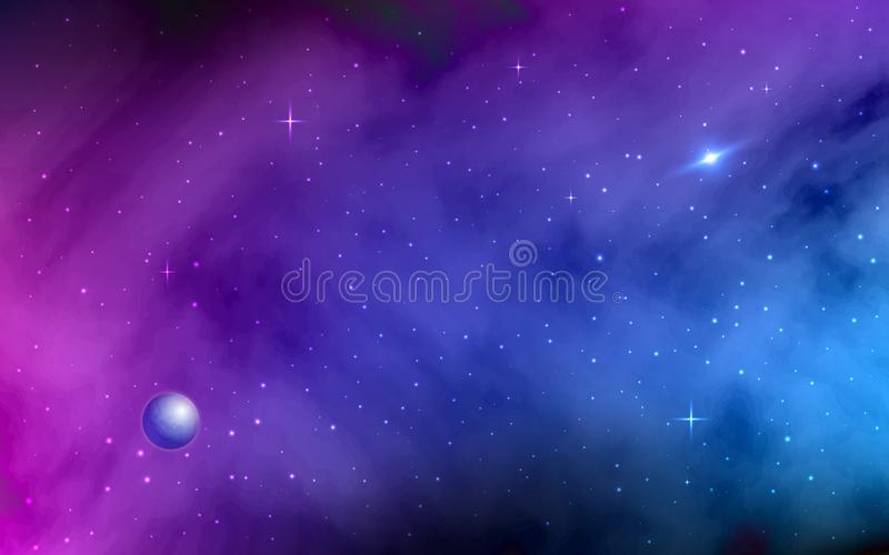 Space background. Shining stars and stardust. Milky Way, planet, colorful galaxy with nebula. Abstract futuristic royalty free illustration