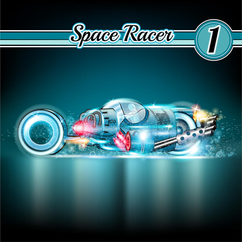 Space background with sport concept car with robot stock illustration