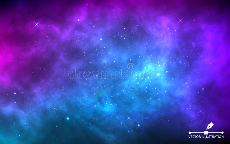 Space background with stardust and shining stars. Realistic colorful cosmos with nebula and milky way. Blue galaxy vector illustration