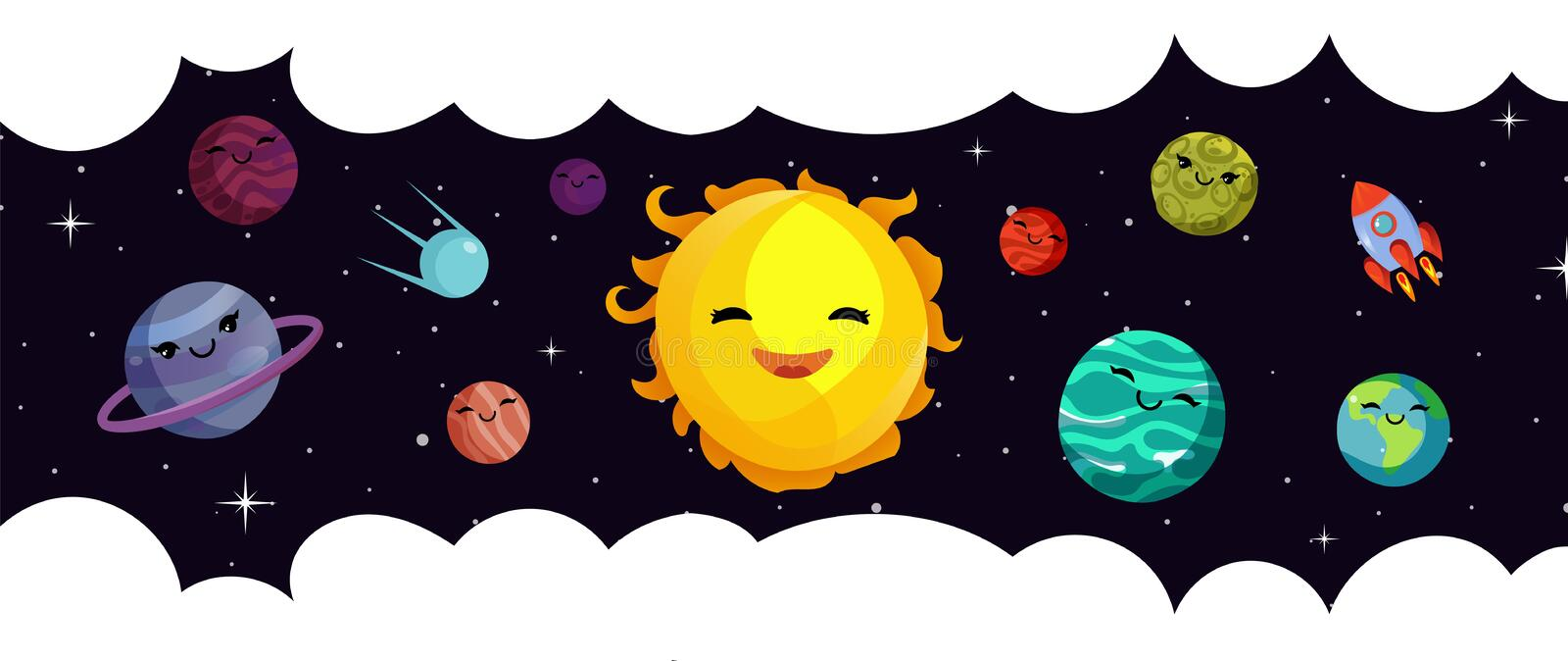 Space banner template. Vector cartoon planets, solar system and rocket. Universe and starry sky royalty free illustration