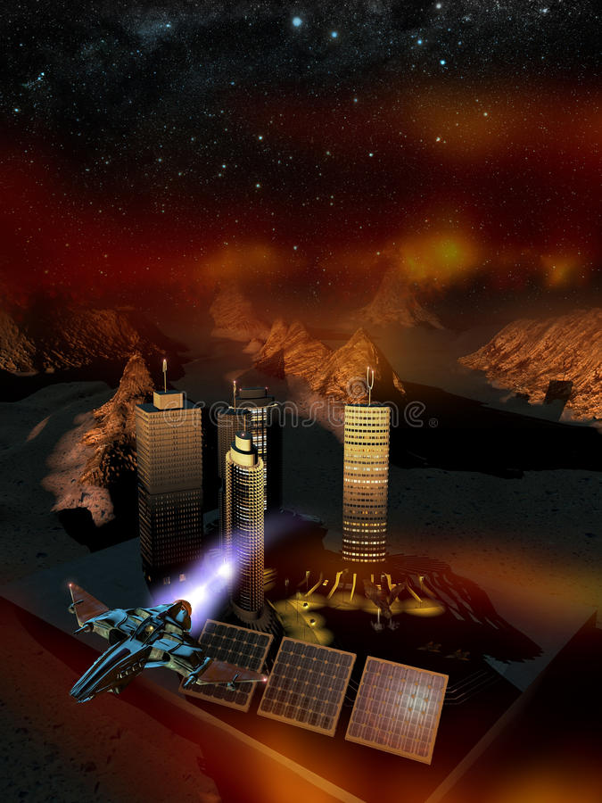 Space base on planet Mars. Aerial view of installations of a space base on planet Mars, where a spacecraft is landing. A space fighter is leaving the place stock illustration