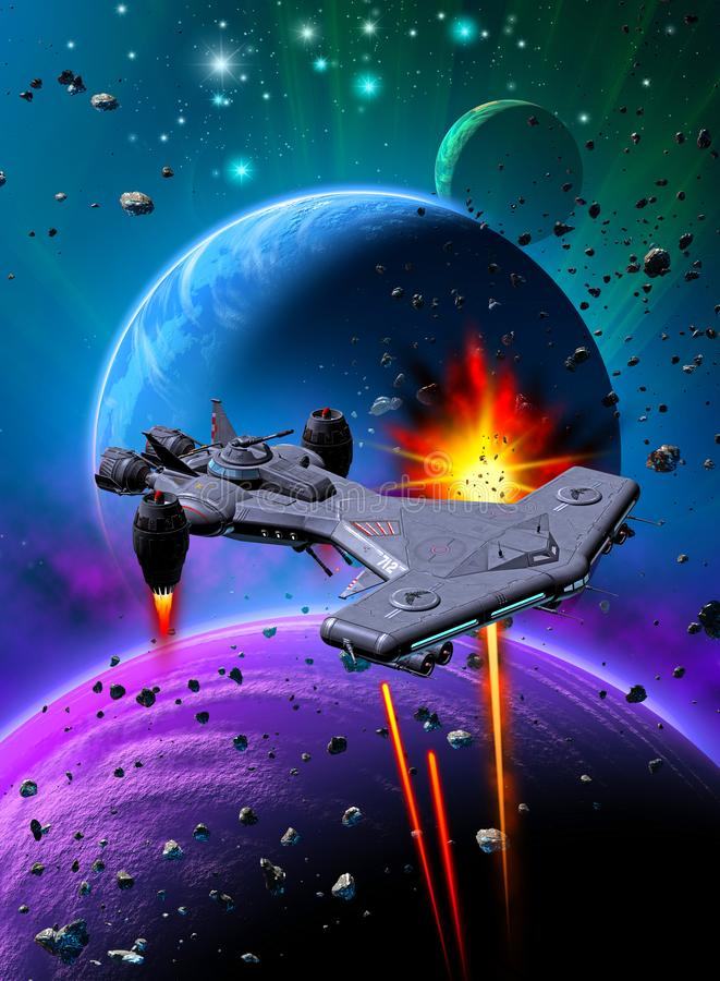 Space battle near an alien planet with two moons, same rockets against a spaceship, sky with nebula and stars, 3d illustration. Space battle over an alien royalty free illustration