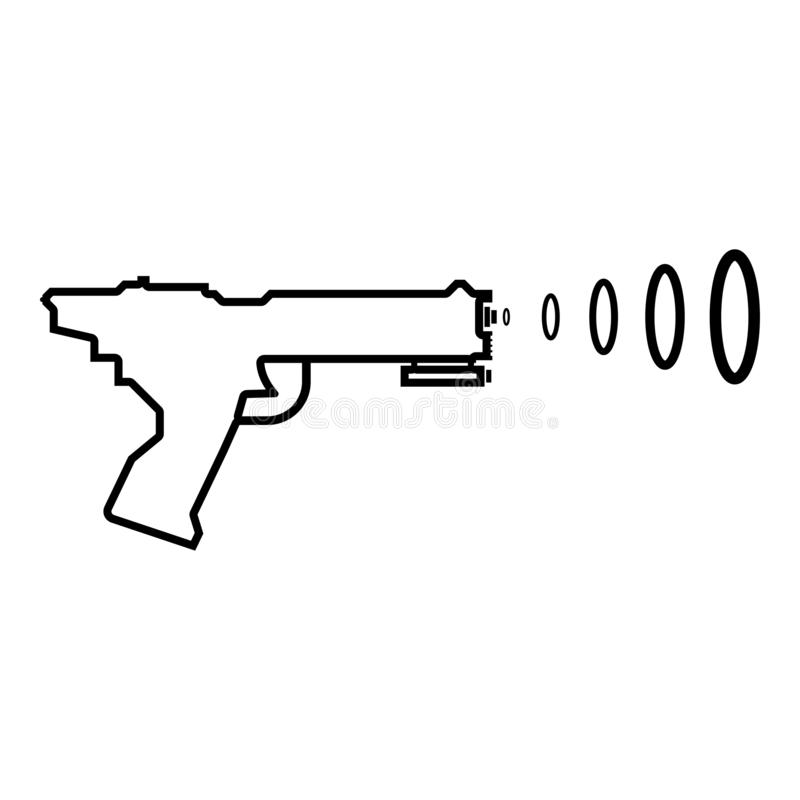 Space Blaster Children's Toy Futuristic gun Space gun shooting blaster wave icon black color outline vector illustration flat. Style simple image royalty free illustration