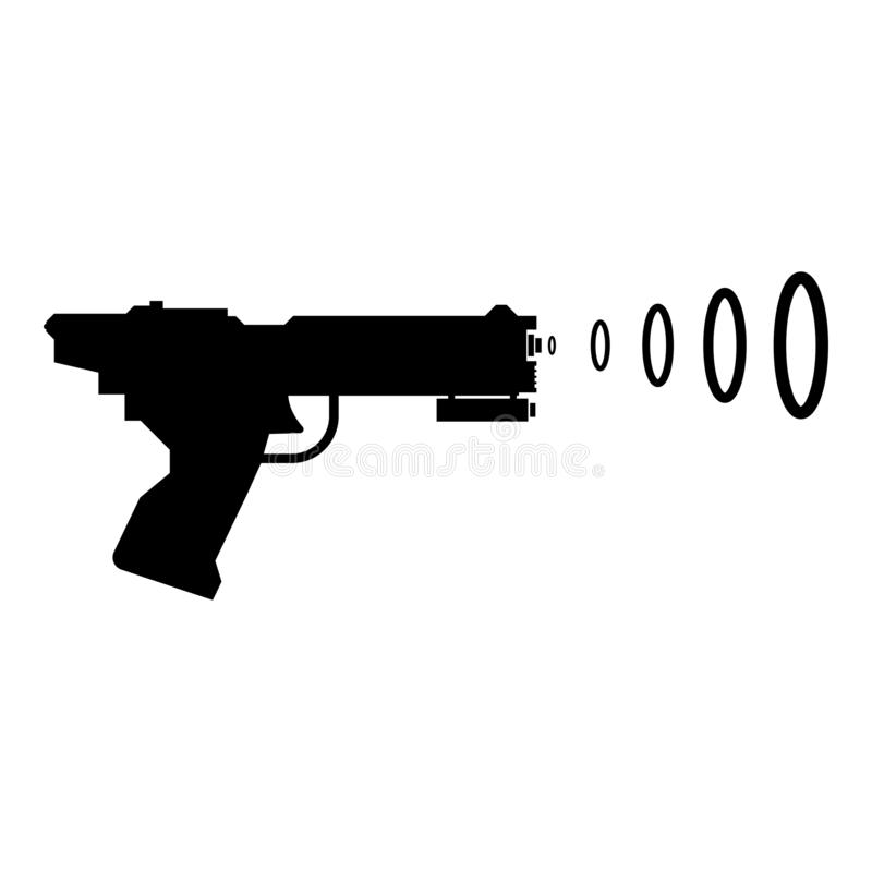 Space Blaster Children's Toy Futuristic gun Space gun shooting blaster wave icon black color vector illustration flat style image. Space Blaster Children's Toy stock illustration