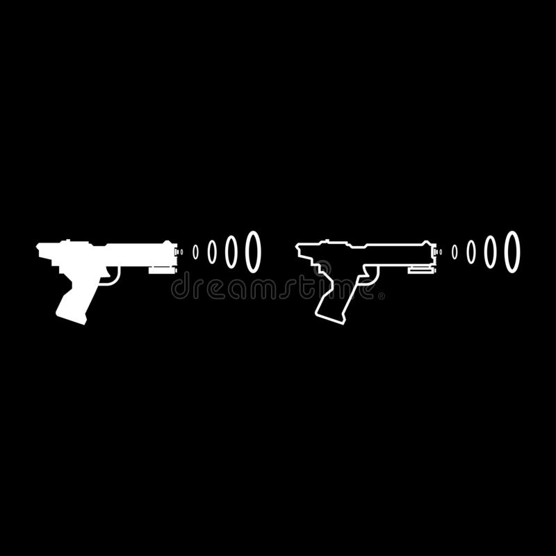 Space Blaster Children's Toy Futuristic gun Space gun shooting blaster wave icon set white color vector illustration flat style. Simple image vector illustration
