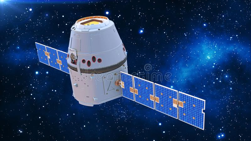 Space capsule, communication satellite with solar panels in cosmos with stars in the background, 3D render royalty free illustration