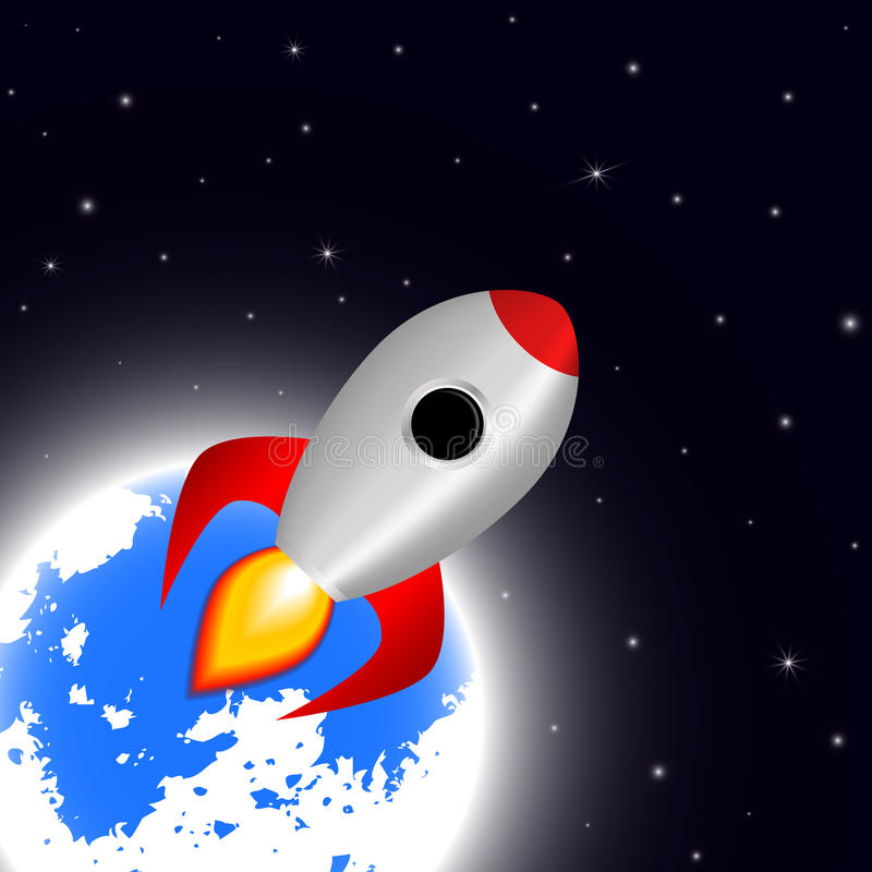 Space cartoon background with rocket spaceship stars and planet vector illustration vector illustration