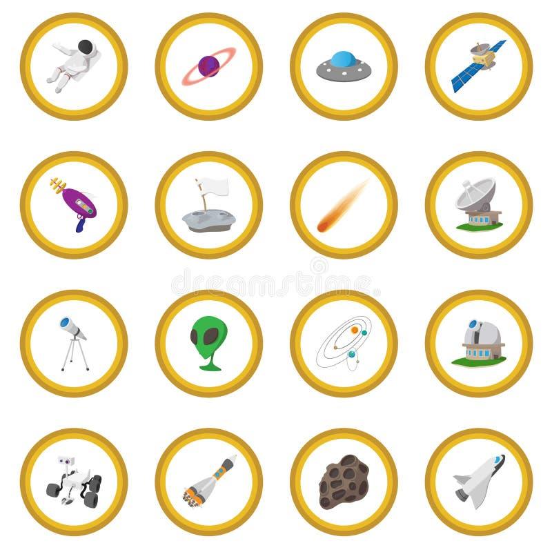 Space cartoon illustrations set. 16 symbols on a white background royalty free illustration