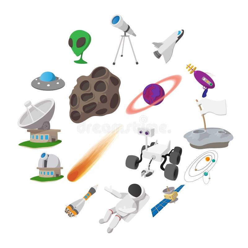 Space cartoon illustrations set. 16 symbols on a white background stock illustration