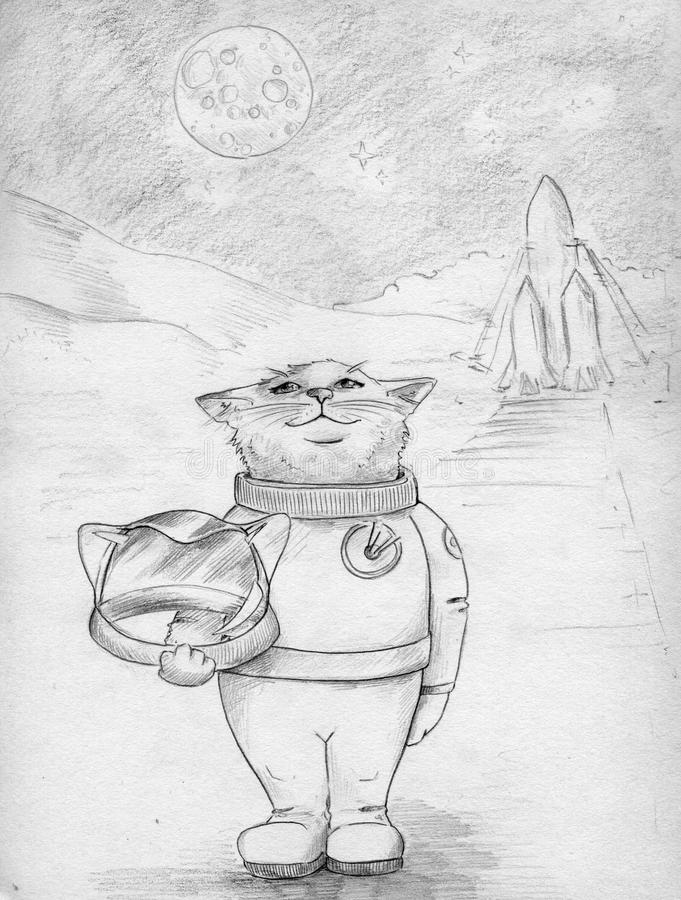 Space cat in space suit stock illustration
