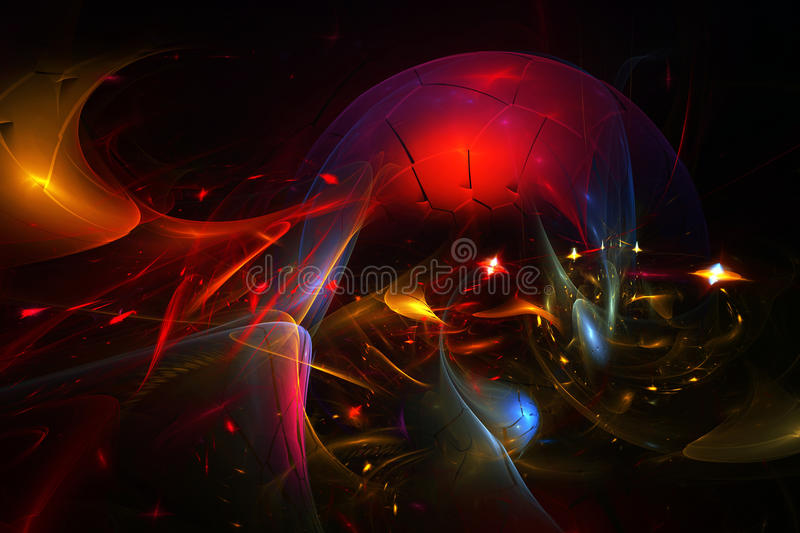 Space_chaos. Abstract background in the form of cosmic sphere in chaos stock illustration