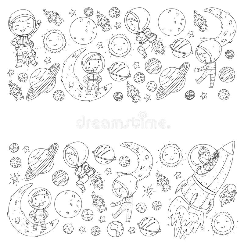 Space for children. Coloring page, book. Kids and cosmos exploration. Adventures, planets, stars. Earth and Moon. Rocket royalty free illustration