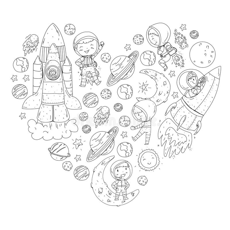 space children kids cosmos exploration adventures planets stars earth moon rocket shuttle sun space children